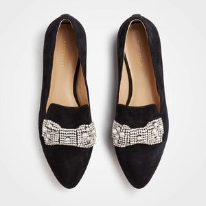 Black Suede Pearl and Crystal Bow Loafers